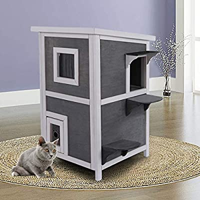 Amazon - Save 80%: Cat House Outside Cat Houses Condos, Outdoor Solid Wood 2-Floor Cat C…