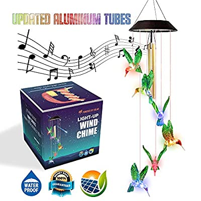 Dekopia [Updated] Solar Wind Chimes Humming Birds with 03 Tuned Tubes Solar Hummingbird Wind Chime Outdoor Color Changing Changing Fall Wind Chimes Waterproof Design Night Party Garden Decoration