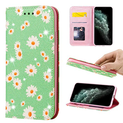 Nadoli Brieftasche Glitzer für Samsung Galaxy M31,Elegant Gänseblümchen Blumen Muster Ultradünn Glänzend Pu Leder Magnetverschluss Schutzhülle Etui mit Standfunktion