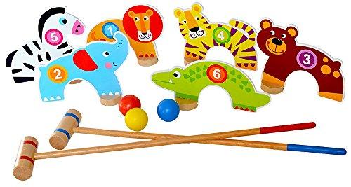 Tooky Toys TKC488 Dschungel-Kroquett-Set, Holz, Mehrfarbig