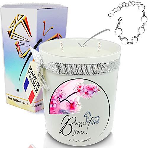 AG Artgosse - Vela con diseño de flor de cerezo y cristales de Swarovski para mujer, ambiente de fiesta de cumpleaños y Navidad