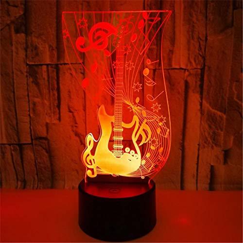 Lámpara de Noche de Ilusión óptica 3D LED de la carga USB del efecto creativo de la ilusión 3D con 7 colores que cambian para las decoraciones del hogar Guitarra musical