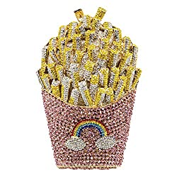 Multicolored #2 Crystal French Fries Chips Minaudiere Clutch Purse