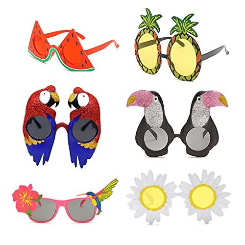 Gukasxi 6 Paar Neuheit Party Brille, Lustige Augenbrille, Strandparty Sonnenbrillen, Hawaii Tropische Sonnenbrille Kostüm Sonnenbrille für Sommer Party Photo Requisiten für Erwachsene