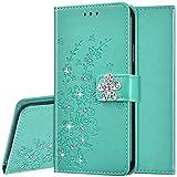 Funda con tapa para Huawei P40 Lite de piel sintética con tapa y tarjetero, diseño de flor de ciruelo con brillantes brillantes y cierre magnético, color verde