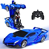 VillaCool RC Cars Robot for Kids Transform Racing Vehicle Toys with One-Button Deformation and 360°Rotating Drifting, Stunt Race Car Toys for Kids Boys Girls New Year'sToy Gift (Blue)