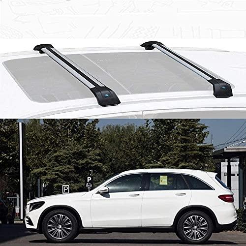 Techos 2 unids/set Custom Roof Rack Cross Bar Fit para Merc-Edes B Enz GLC 2016-2020 Aleación de aluminio Techo Barras de carga de la aleación de carga Carril de portador de equipaje con cerradura R