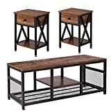 VECELO Occasional Set of 3 Includes Coffee 2 End Tables, Industrial Metal Frame, Table + Two Table, Brown