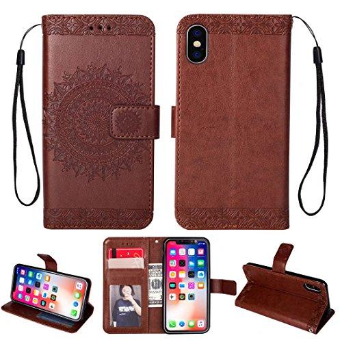 iPhone 5/5S/5SE hoesje PU lederen portemonnee reliëf Mandala bloem standaard Flip case credit card slot beschikt over beschermende DECHYI case, Portemonneehouder, BRON, iPhone X(5.8