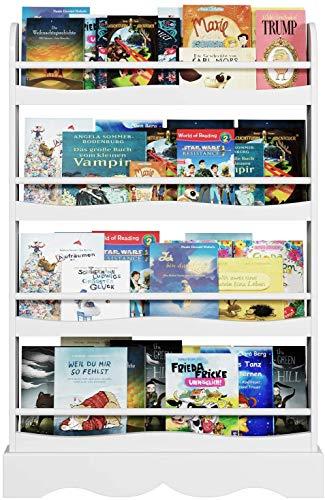 Homfa Libreria Bambini, Scaffale in Legno a 4 Ripiani, Mobile Portalibri da Muro, 80 x 11.5 x 118 cm Bianco