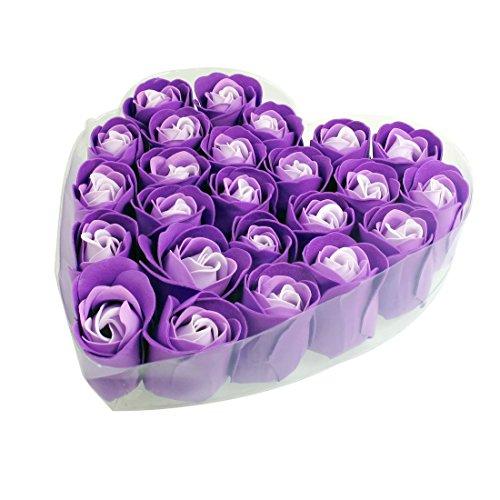 SODIAL(R) 24 Piezas De Jabon De Bano morado Perfumado En Forma De Petalo De Rosa En La Caja Del Corazon