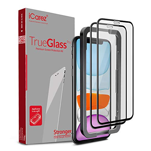 iCarez [Full Coverage Tempered Glass + Tray Installation] Screen Protector for iPhone 11 (2019) 6.1-Inch/iPhone XR (Case Friendly) Easy Apply [ 2-Pack 0.33MM 9H 2.5D]