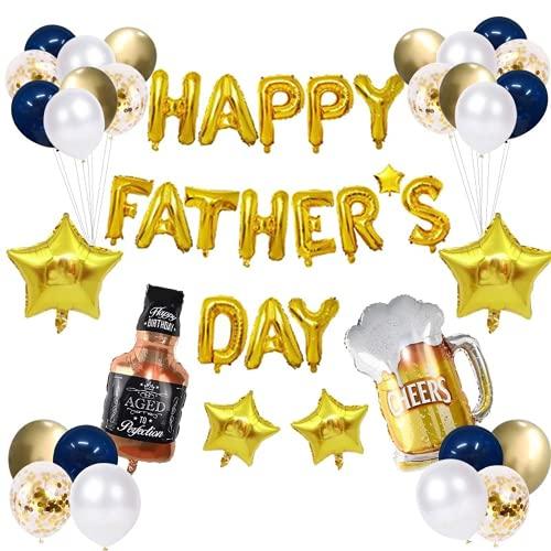 34 globos para el día del padre, guirnalda de banderines para fiestas con texto en inglés 'Best Dad Ever I Love You Dad'