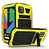 WintMing for Google Pixel 4 Aluminium Metal Case Waterproof Dropproof Shockproof Dustproof Cover Built-in Screen Protector Military Grade Defender Case with Kickstand for Google Pixel 4 (Yellow)