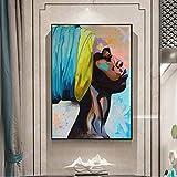 JNZART Afrikanische Frauen Leinwand Gemälde Abstrakte Straße Wandkunst Leinwand Graffiti Kunst Wandbilder Für Wohnzimmer Gemälde Decor C 40x60cm