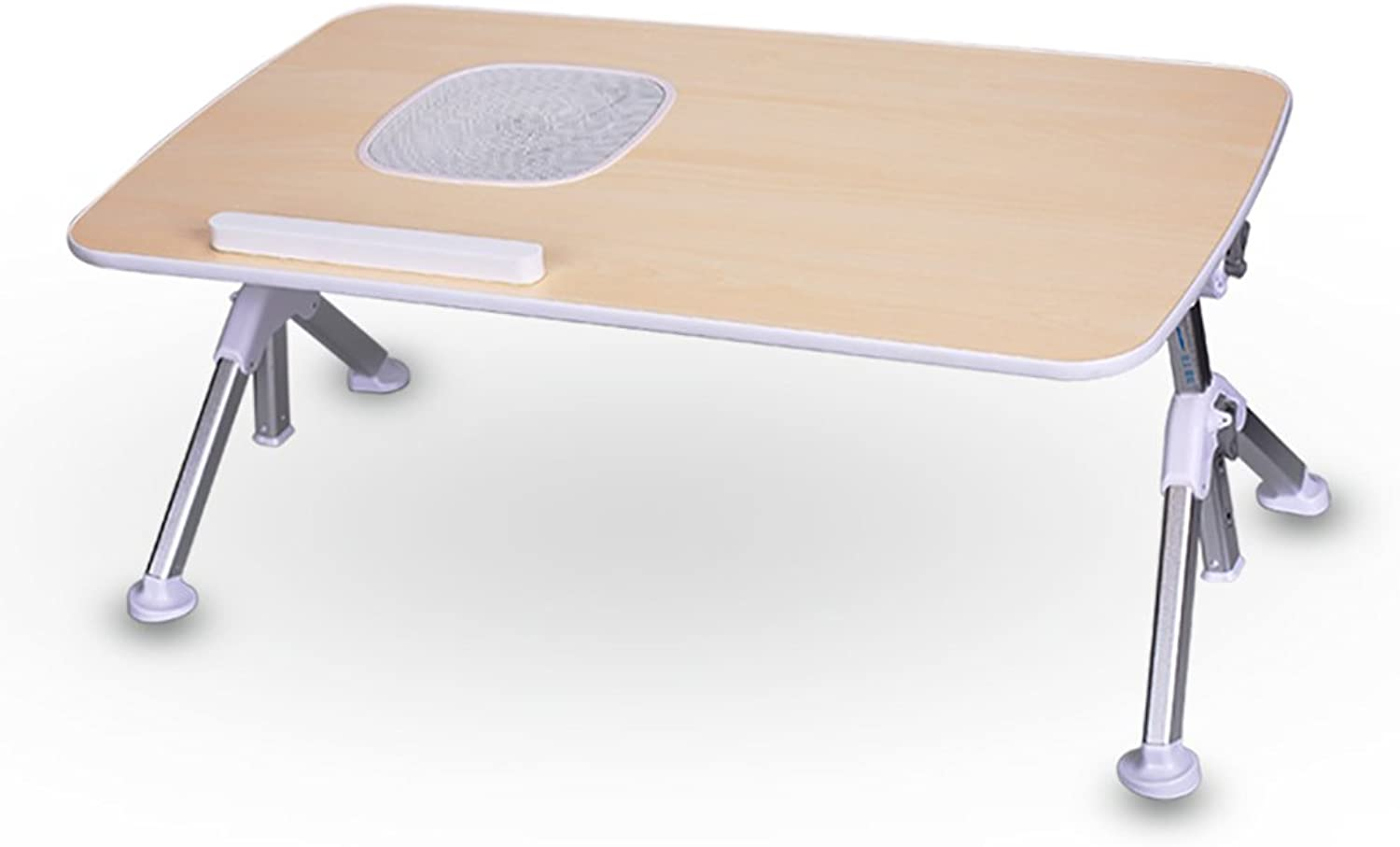 TY BEI Small Wooden Folding Table - Computer Desk - with Fan and Adjustable Height Legs and Table top - Portable Square Folding Table - TV Catering and Coffee and Coffee Table   (Size   52  30cm)