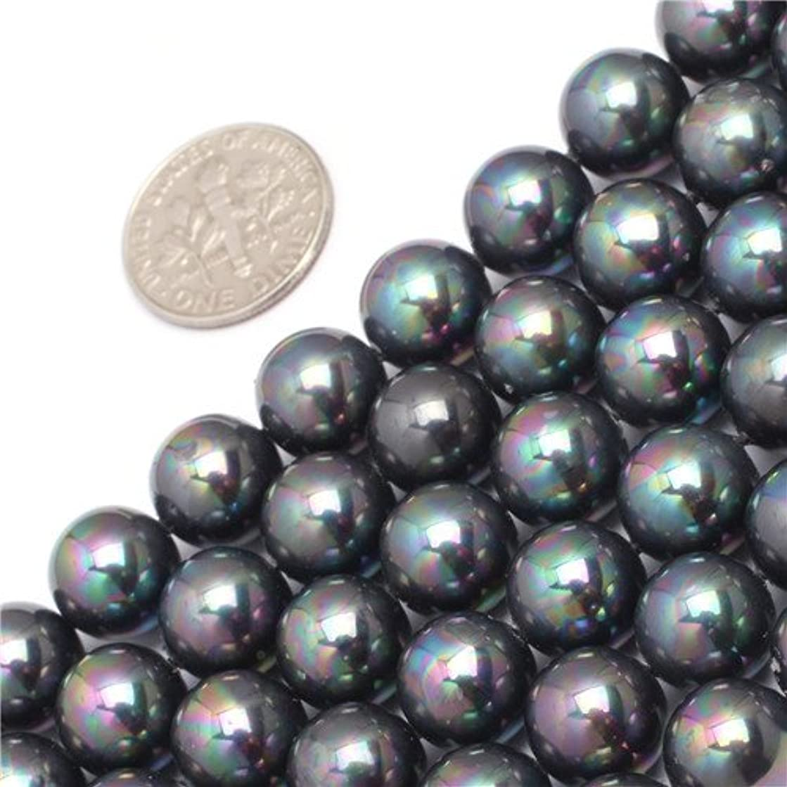 GEM-inside Natural Fresh Water Pearl Shell Gemstone Round Loose Beads 10MM Round Crystal Energy Stone Power For Jewelry Making 15