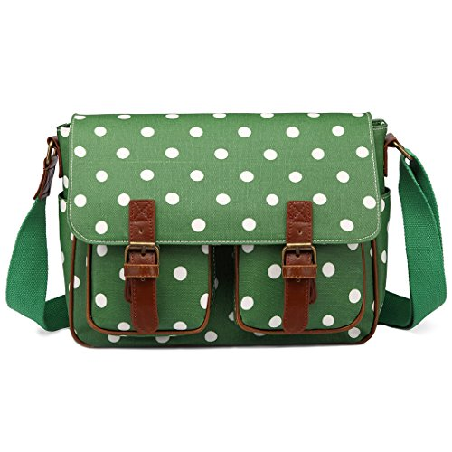 Miss Lulu Women Handbags Oilcloth School Printing Cross Body Satchel Shoulder Hand Cross Body Messenger Bags (Dot Green)