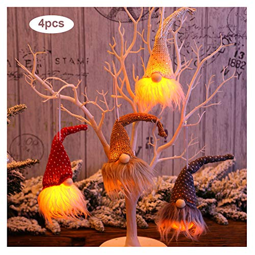 KELUNIS Christmas Tree Decoration Pendant with Lights, Night Light Glowing Festival Home Decoration Hanging Ornaments 4Pcs