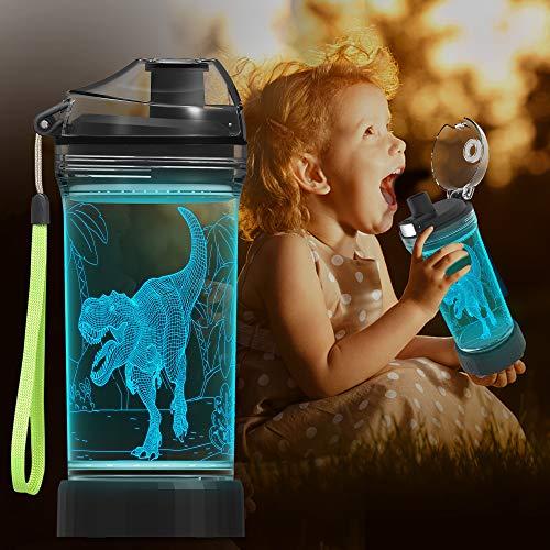 Botella de agua para niños con luz LED de dinosaurio 3D – 14 oz Tritan libre de BPA – creativa taza de viaje ideal regalo de dinosaurio para la escuela, niño, niño, vacaciones, camping, picnic