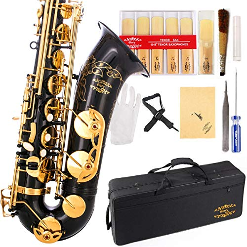 Glory Black/Gold B Flat Tenor Saxophone with Case,10pc Reeds,Mouth Piece,Screw...