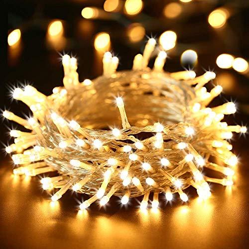 BrizLabs 100 LED Catena Luminosa Interno, 15M Luci Natalizie Bianco Caldo 8 Modalità Impermeabile Luci Stringa Esterno Cavo Trasparente per Giardino, Albero di Natale, Matrimonio, Festa