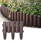 Aufun Kunststoff Rasenkante 11,2m Holz Optik Garden Border aus Polypropylen, Mähkante Beetumrandung Palisade Garten dekorativ, 1 Element BxHxT: 28x24x1 cm, Braun