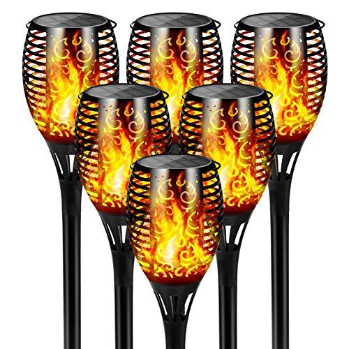 FLOWood Fackeln Garten LED, 2 in 1 Solar Garten Flammen IP65 Wasserdicht, Wiederaufladbar Solar Flammenlicht Garten für Garten, Hof, Auffahrt, Weg, 6 Stück