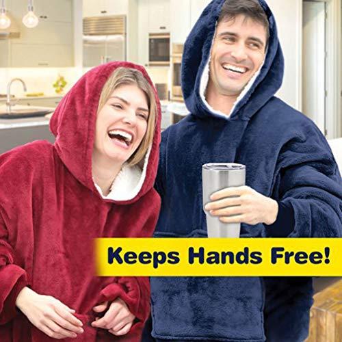 Voqeen Sherpa Hoodie Blanket Oversized Super Soft Wearable Pyjamas Giant Sweatshirt Big Pocket Sweater One Size Fits All Men Women Girls Boys (Red)