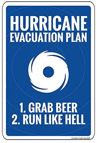 560 WENKLL Hurricane Evacuation Plan 8x12inch Pub Shed Bar Man Cave Home Bedroom Office Kitchen Gift Metal Sign