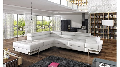 EMPORIO 4-SEATER - WHITE FAUX LEATHER CORNER SOFA BED with ARMREST HEADREST RELAX FUNCTION- LEFT FACING by BMF