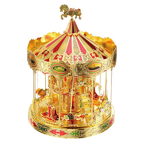 Piececool Merry GO Around Carousel 3D Metal Model Kits DIY Assemble Puzzle Laser Cut Jigsaw Toy P082-GRN