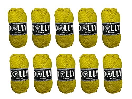 10 Pezzi Gomitoli Lana, 15 Colori Gomitoli di Lana Filato per Ferri 50g per Maglieria Fai da Te (Giallo)