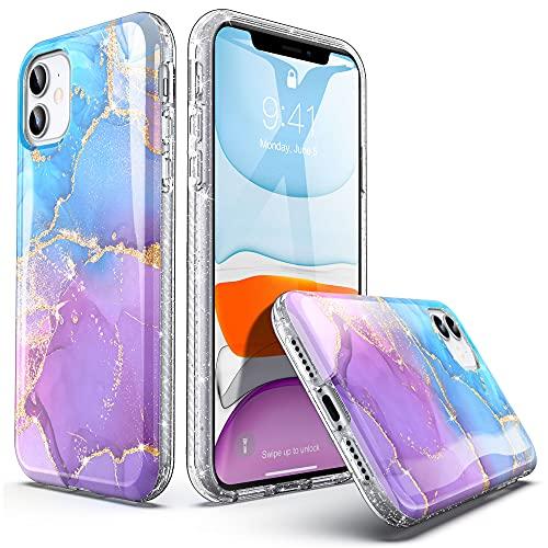 ULAK Glitzer Hülle Kompatibel mit iPhone 11, Glitzer Durchsichtige Schutzhülle Hard TPU Bumper Handyhülle Stoßfest Phone Hülle für Apple iPhone 11 6,1 Zoll - Blau