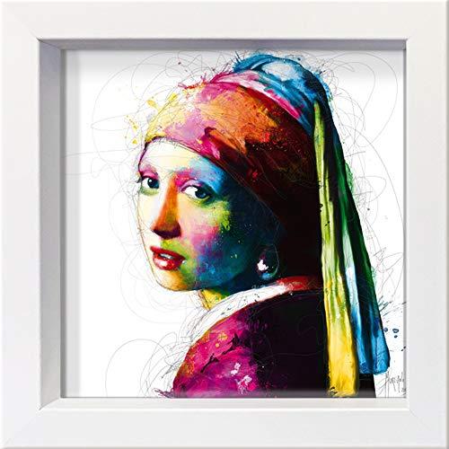 International Graphics ingelijste briefkaart - MURCIANO, Patrice - ''Vermeer Pop' - 16 x 16 cm - witte lijst