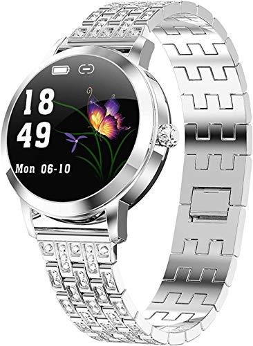 Reloj inteligente para mujer con seguimiento de actividad y actividad física, resistente al agua, monitor de presión arterial, podómetro, contador de pasos, Bluetooth, color plateado