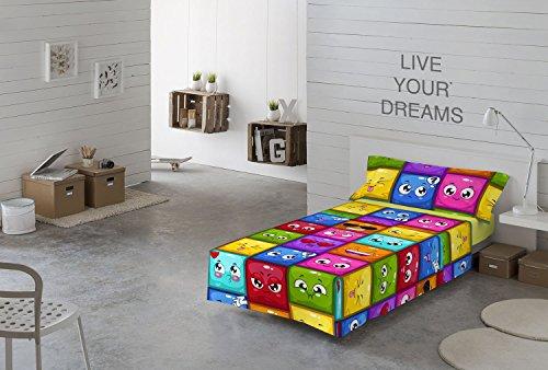 NATURALS Juego sabanas 3 pcs para Cama 90 cms Hello emoticonos, 100% algodón, Multicolor, 90 x 190 cm