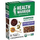 Health Warrior Organic Pumpkin Seed Protein Bars, Dark Chocolate, 7g Plant Protein, Gluten Free, Certified Organic (4 Pack)
