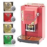 Macchina caffè a Cialde ese Filtro Carta 44mm Faber Pro Deluxe Corallo con Rifiniture in Ottone con 50 cialde Omaggio Emporio del caffè