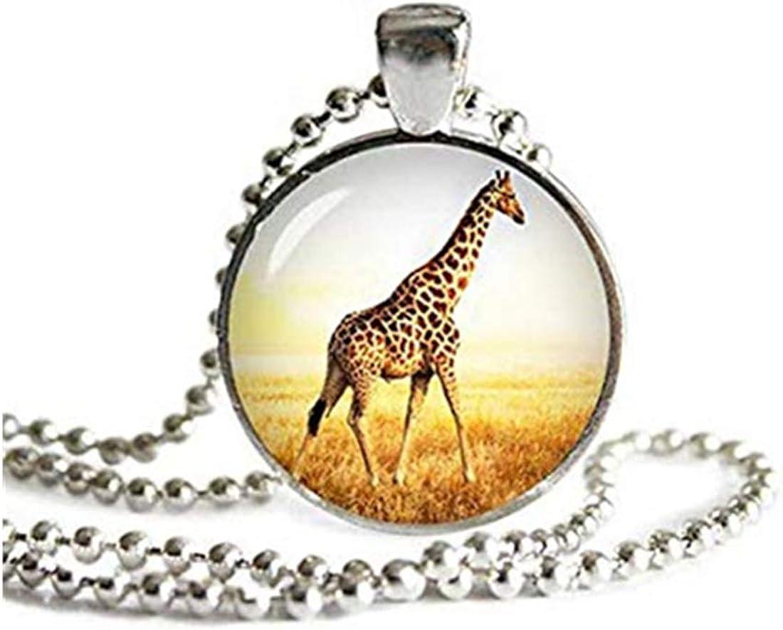 dandelion Giraffe Pendant Necklace ,with a Ball Chain Giraffe Jewelry ,Giraffe Necklace