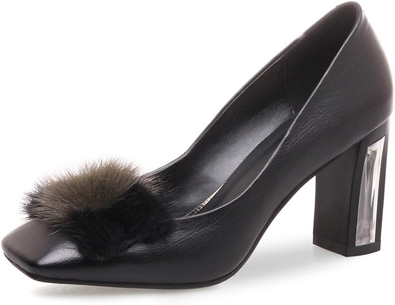 Nine Seven Genuine Leather Women's Square Toe High Chunky Heel Handmade Slip On Pumps