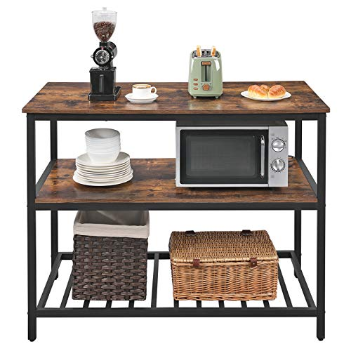 VASAGLE ALINRU Kitchen Island with 3 Shelves, Kitchen Shelf with Large Worktop, Stable Steel Structure, 47.2 x 23.6 x 35.4 Inches, Industrial, Easy to Assemble, Rustic Brown and Black UKKI01BX