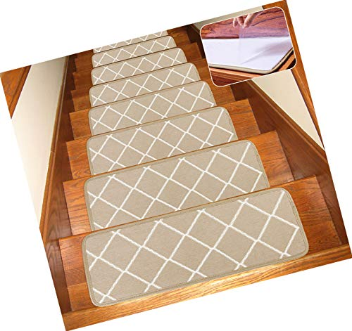 Seloom Non-Slip Washable Stair Treads Carpet Rugs with Skid Resistant Rubber Backing and Modern Moroccan Diamond Trellis Design for Indoor Wooden Steps (13 Pack, Frosted Almond/Beige)