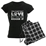 CafePress You Can't Buy Love But You Can Recue It Pajamas Womens Novelty Cotton Pajama Set, Comfortable PJ Sleepwear