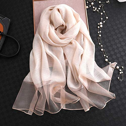 TXGLGWA Summer Silk Scarf for Women Long Size Lady Shawl Female Wraps Bandana Foulard Hijabs Solid Soft Beach Stoles apricot