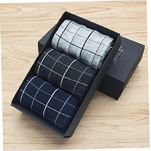 XKJFZ Männer Leichtes Kleid Crew Socken Unverbindlicher Bequeme beiläufige Crew Socken für Office Business 3Pairs Winter warm Supplies