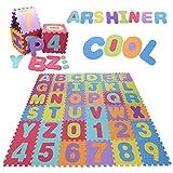 Arshiner 36ピースキッズベビーフォームフロアパズルジグソーパズル活動マットアルファベット番号キッズ教育玩具ソフトエヴァ安全プレイマット敷物カーペット