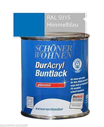 DurAcryl Buntlack Himmelblau 125 ml RAL 5015 Glänzend Schöner Wohnen