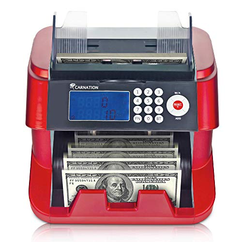 CARNATION Money Bills Counting Machine – Fast, User Friendly Bank Grade Cash Counter – 4 Counterfeit Detection Functions (UV, MG, IR, DD) - Not a Denomination Counter