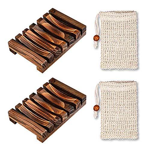 Jaboneras de madera de diseño estriado y ondulado, ideal para ayudar a evacuar el agua con bolsitas perfectas para regalo personal